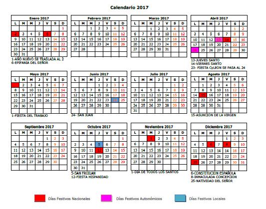 calendario laboral 2017 y domingos y festivos de apertura