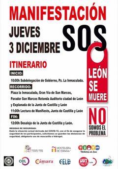 Convocatoria Manifestación SOS León se muere, 3 de diciembre